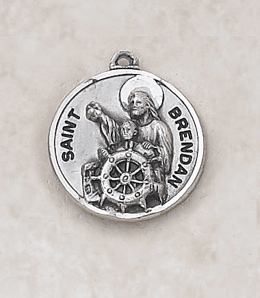 Sterling Patron St Brendan Medal Necklace by Creed Jewelry