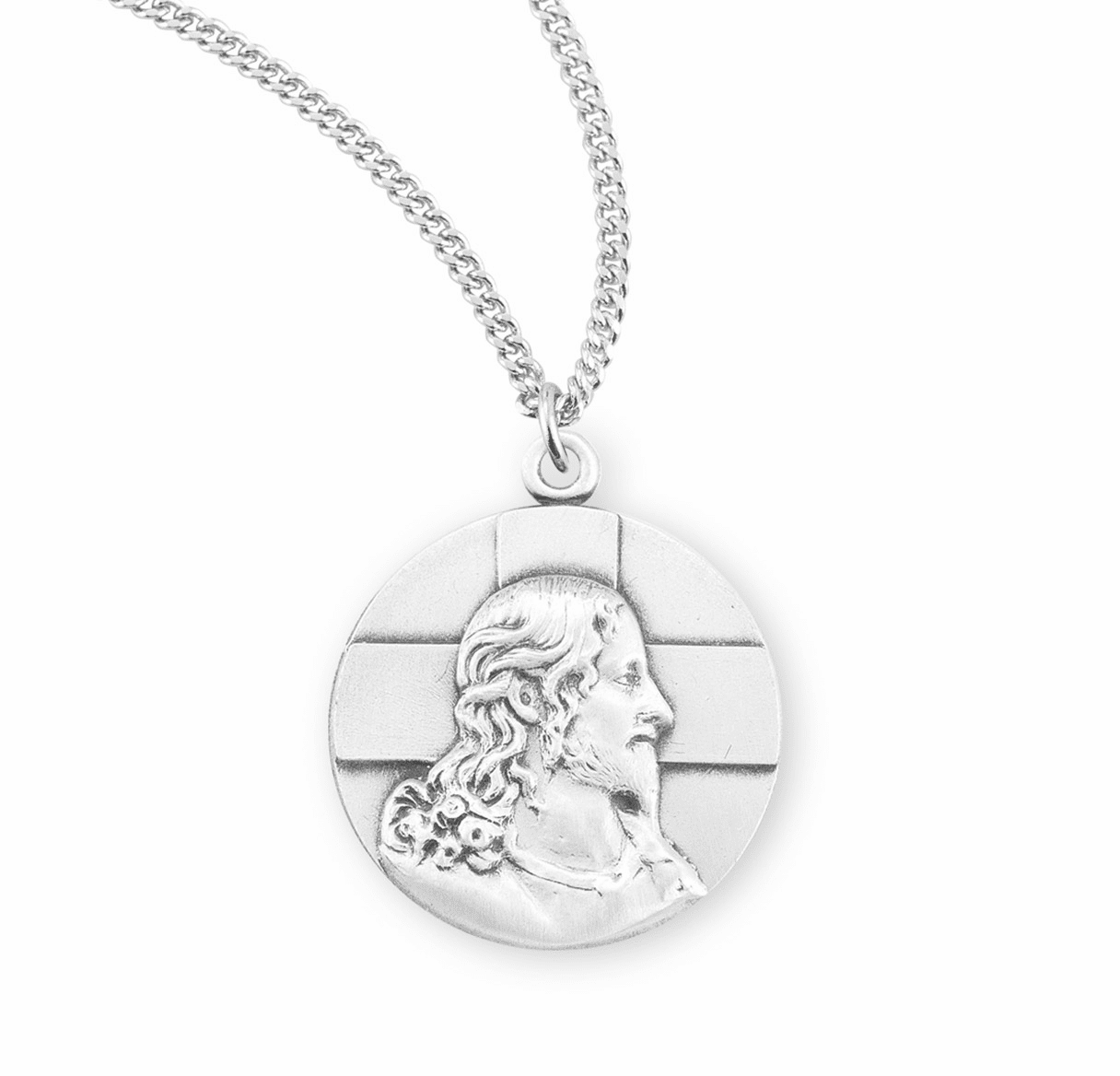 Sterling Profile of Jesus Medal Pendant w/Chain by HMH Religious