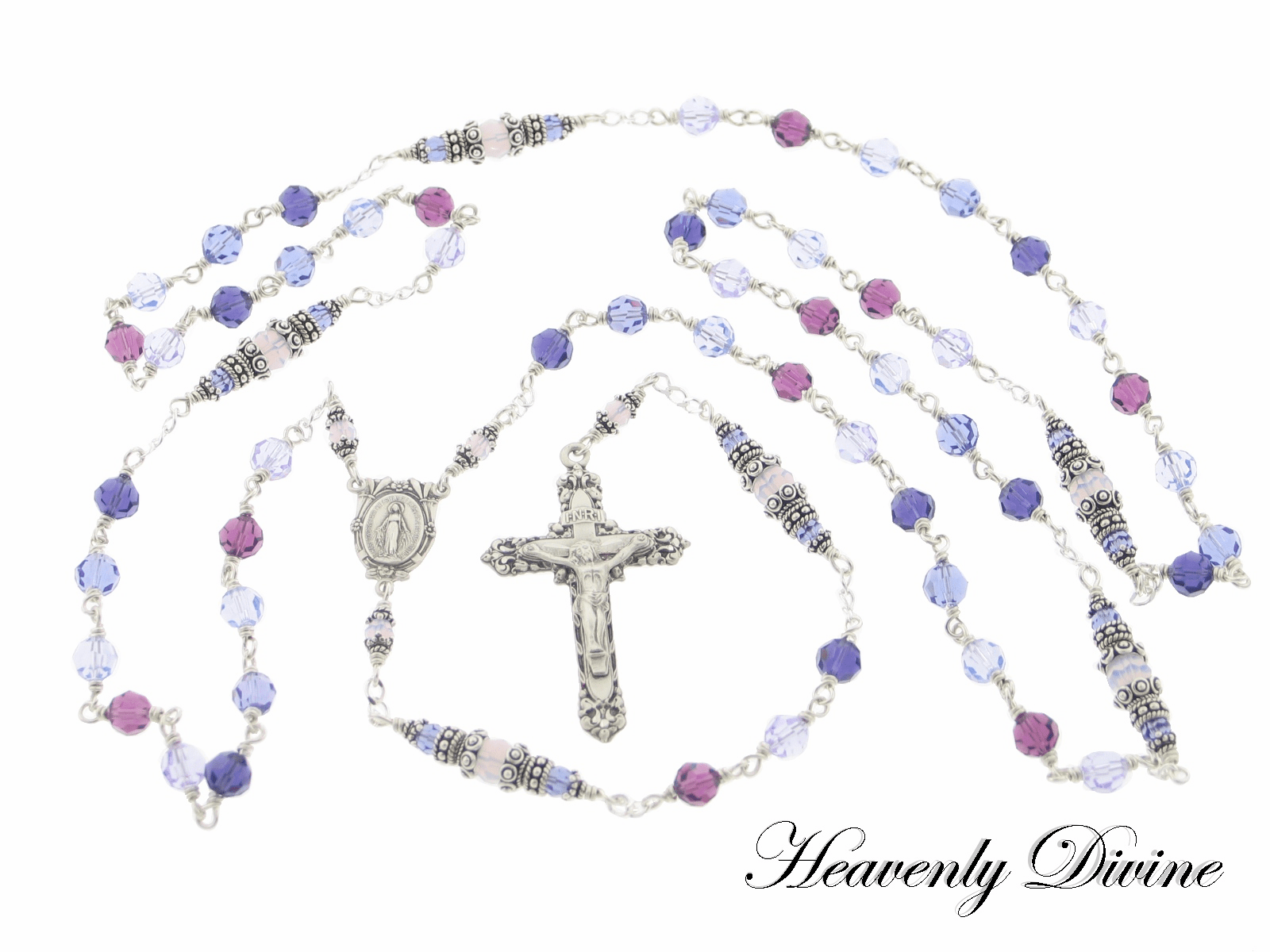 Sterling Purple Swarovski Crystal Wire Wrapped Rosary by Heavenly Divine