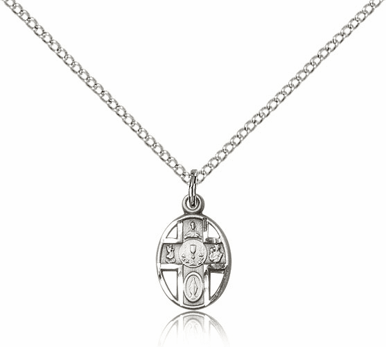 Sterling Silver 5-Way Cross Communion Chalice Pendant Necklace