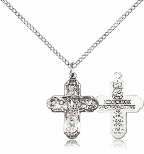 Sterling Silver 5-Way Cross Necklace