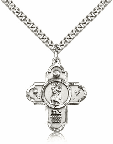 Sterling Silver 5-Way St Christopher Sports Medal by Bliss