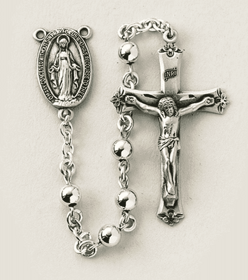 Sterling Silver 5mm Prayer Rosary w/Flowered Crucifix by HMH Religious