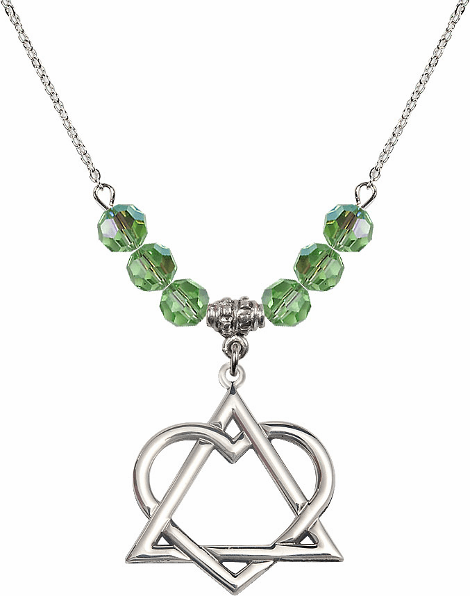 Sterling Silver Adoption Heart Sterling August Peridot Swarovski Crystal Beaded Necklace by Bliss Mfg