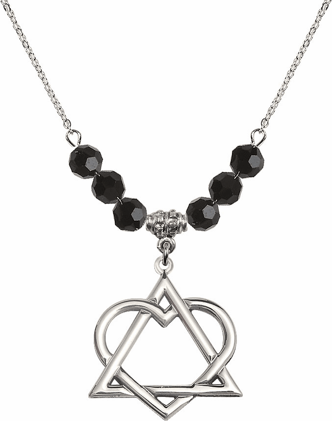 Sterling Silver Adoption Heart Sterling Black Jet Swarovski Crystal Beaded Necklace by Bliss Mfg