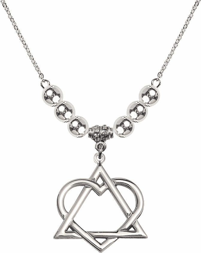 Sterling Silver Adoption Heart Sterling Charm w/Silver Beads Necklace by Bliss Mfg