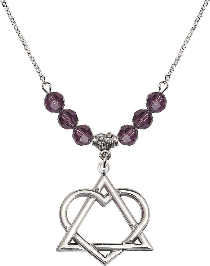 Sterling Silver Adoption Heart Sterling February Amethyst Swarovski Crystal Beaded Necklace by Bliss Mfg