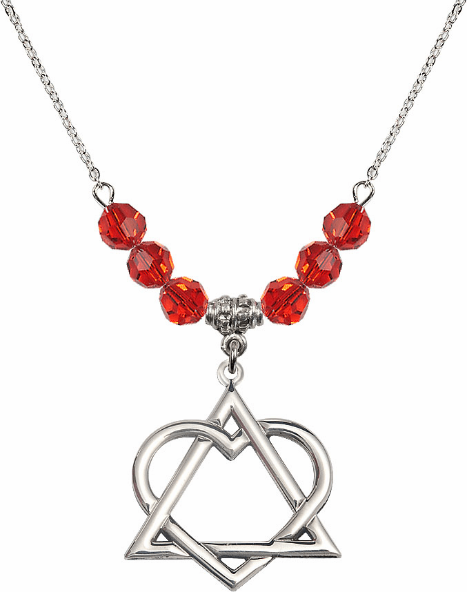 Sterling Silver Adoption Heart Sterling July Ruby Swarovski Crystal Beaded Necklace by Bliss Mfg