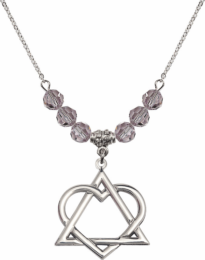 Sterling Silver Adoption Heart Sterling June Lt Amethyst Swarovski Crystal Beaded Necklace by Bliss Mfg