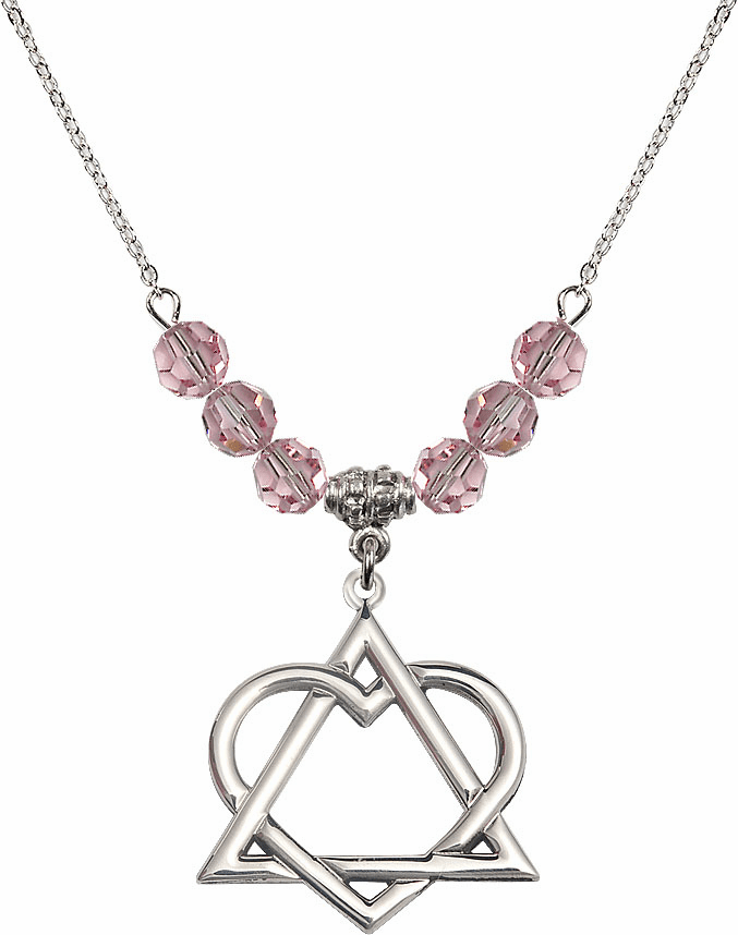 Sterling Silver Adoption Heart Sterling Lt Rose Swarovski Crystal Beaded Necklace by Bliss Mfg