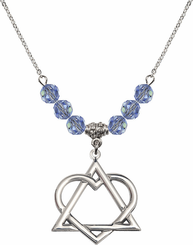 Sterling Silver Adoption Heart Sterling Lt Sapphire Swarovski Crystal Beaded Necklace by Bliss Mfg