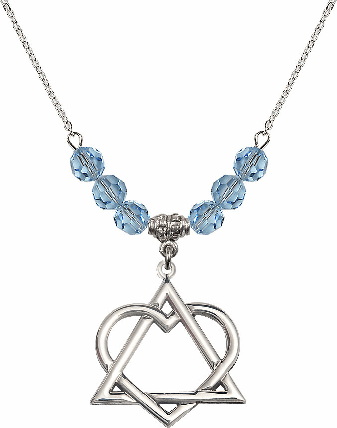 Sterling Silver Adoption Heart Sterling March Aqua Swarovski Crystal Beaded Necklace by Bliss Mfg