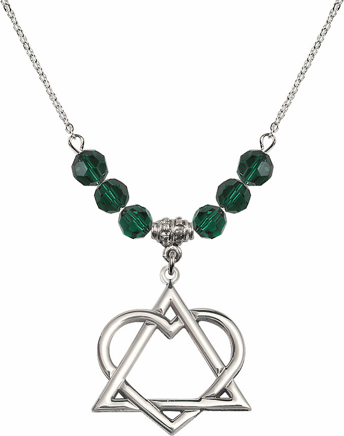 Sterling Silver Adoption Heart Sterling May Emerald Swarovski Crystal Beaded Necklace by Bliss Mfg