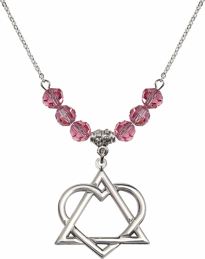 Sterling Silver Adoption Heart Sterling October Rose Swarovski Crystal Beaded Necklace by Bliss Mfg