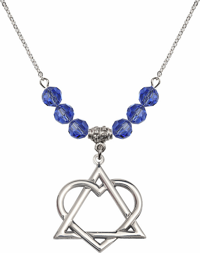 Sterling Silver Adoption Heart Sterling September Sapphire Swarovski Crystal Beaded Necklace by Bliss Mfg