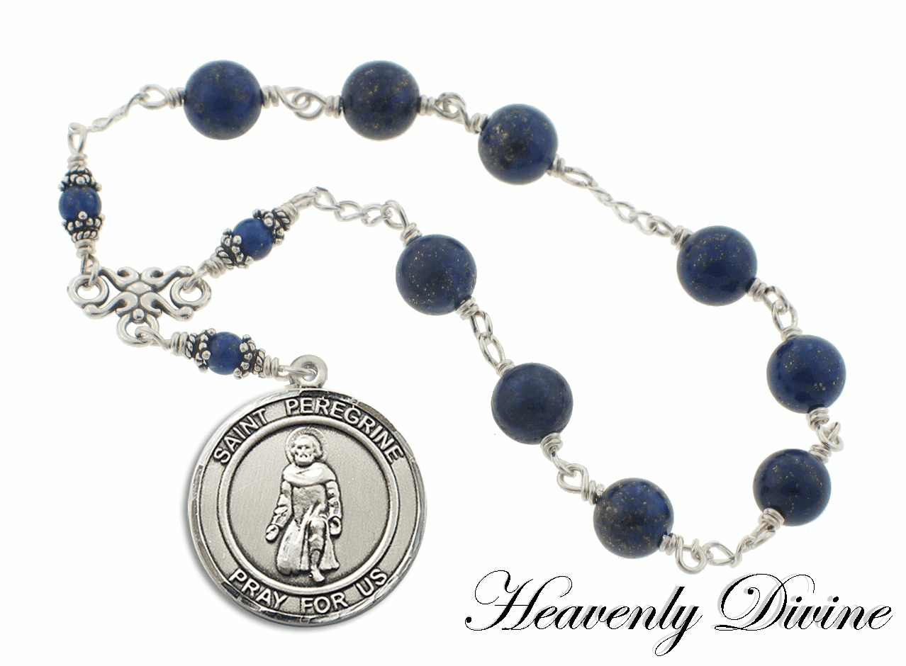 "Sterling Silver Blue Lapis Patron Saint Peregrine Chaplet ""More Saints"""
