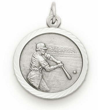 Sterling Silver Boys Baseball Player Medal with Cross on Back Necklace by Singer