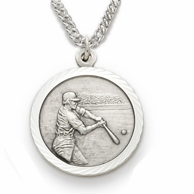 Singer Sterling Boys Baseball Player Medal w/Cross on Back Necklace