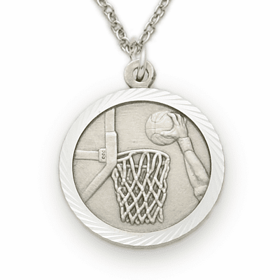 Sterling Silver Boys Basketball Medal Necklace with Cross on Back