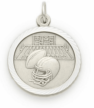Sterling Silver Boys Football Pendant with Cross Necklace