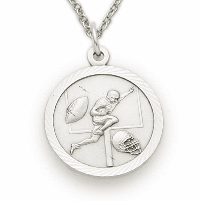 Sterling Silver Boys Football Player Medal Necklace