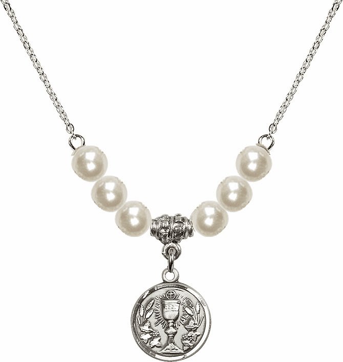 Sterling Silver Communion Chalice Medal Sterling 6mm Faux Pearlsl Necklace by Bliss Mfg