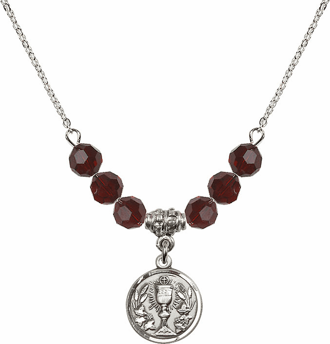 Sterling Silver Communion Chalice Medal Sterling 6mm January Garnet Swarovski Crystal Necklace by Bliss Mfg