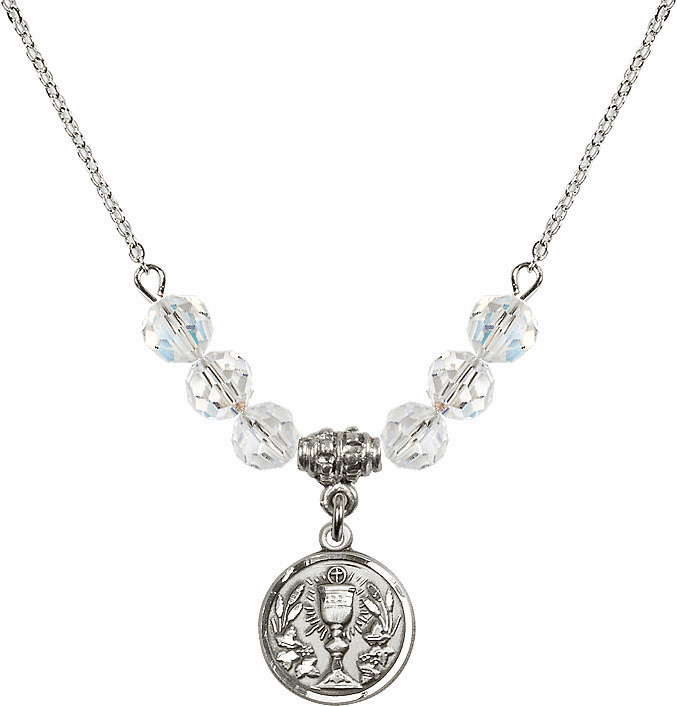 Sterling Silver Communion Chalice Medal Sterling April 6mm Swarovski Crystal Necklace by Bliss Mfg