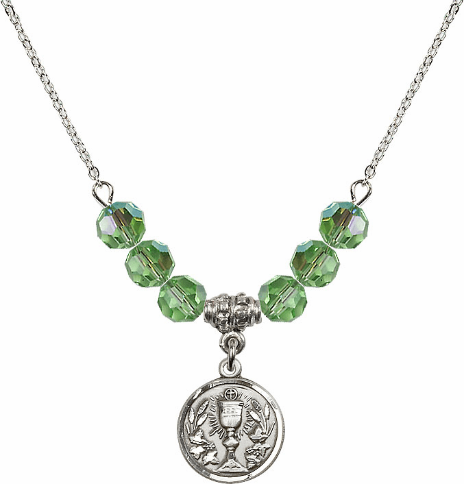 Sterling Silver Communion Chalice Medal Sterling August Peridot 6mm Swarovski Crystal Necklace by Bliss Mfg