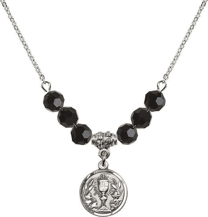 Sterling Silver Communion Chalice Medal Sterling Black Jet 6mm Swarovski Crystal Necklace by Bliss Mfg