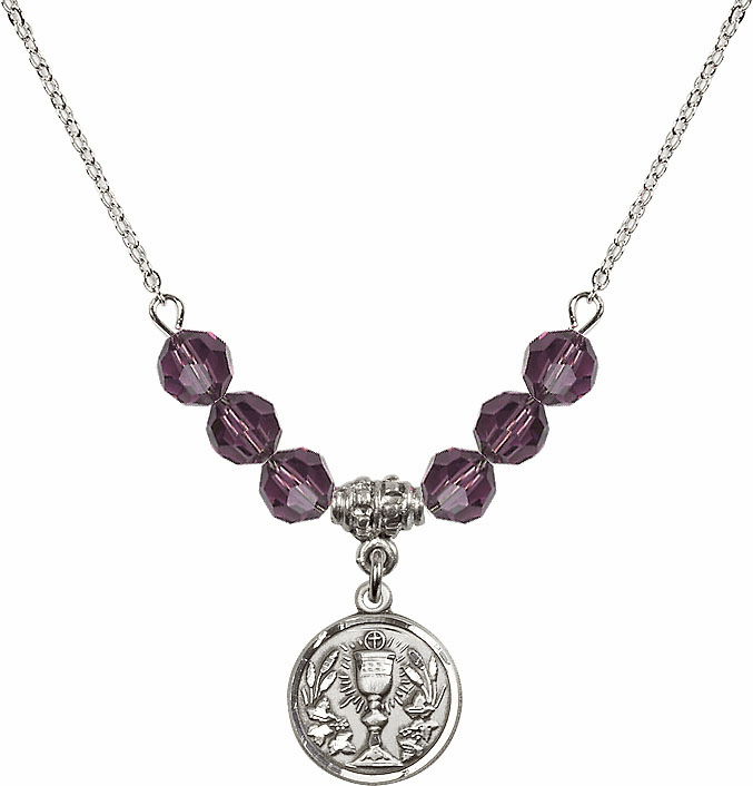Sterling Silver Communion Chalice Medal Sterling February Amethyst 6mm Swarovski Crystal Necklace by Bliss Mfg