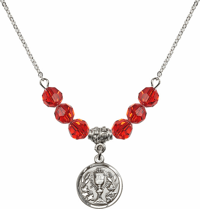 Sterling Silver Communion Chalice Medal Sterling July Ruby 6mm Swarovski Crystal Necklace by Bliss Mfg