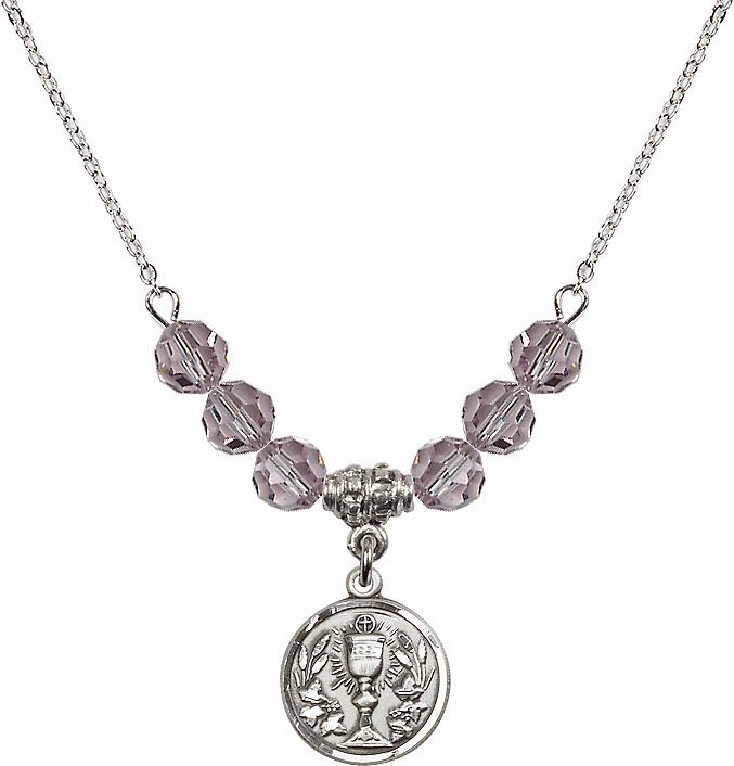 Sterling Silver Communion Chalice Medal Sterling June Lt Amethyst 6mm Swarovski Crystal Necklace by Bliss Mfg