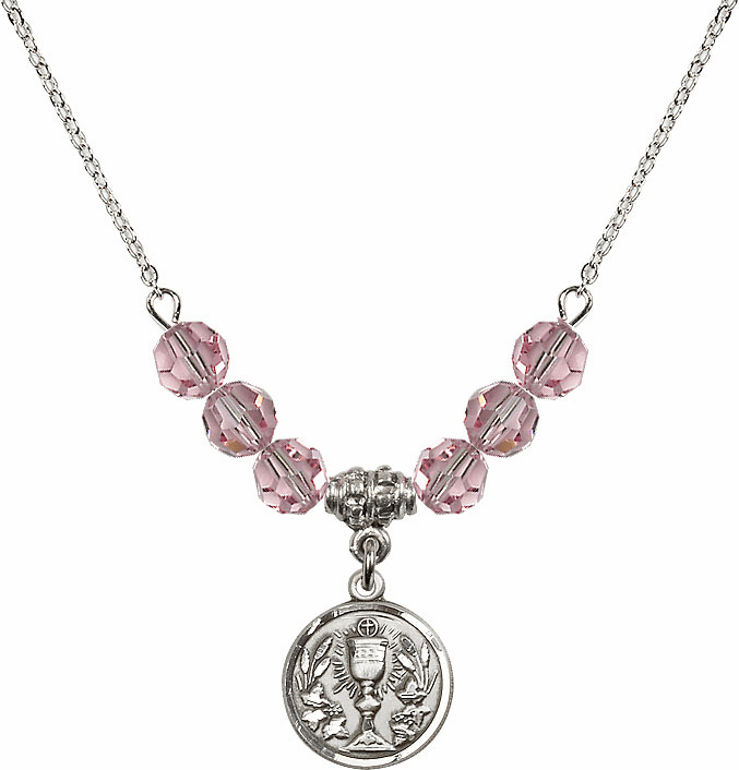 Sterling Silver Communion Chalice Medal Sterling Lt Rose 6mm Swarovski Crystal Necklace by Bliss Mfg