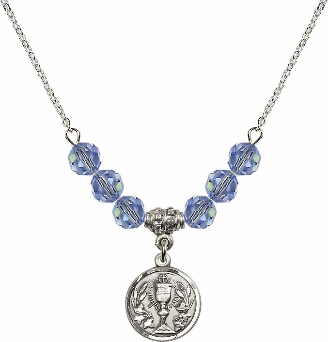 Sterling Silver Communion Chalice Medal Sterling Lt Sapphire 6mm Swarovski Crystal Necklace by Bliss Mfg