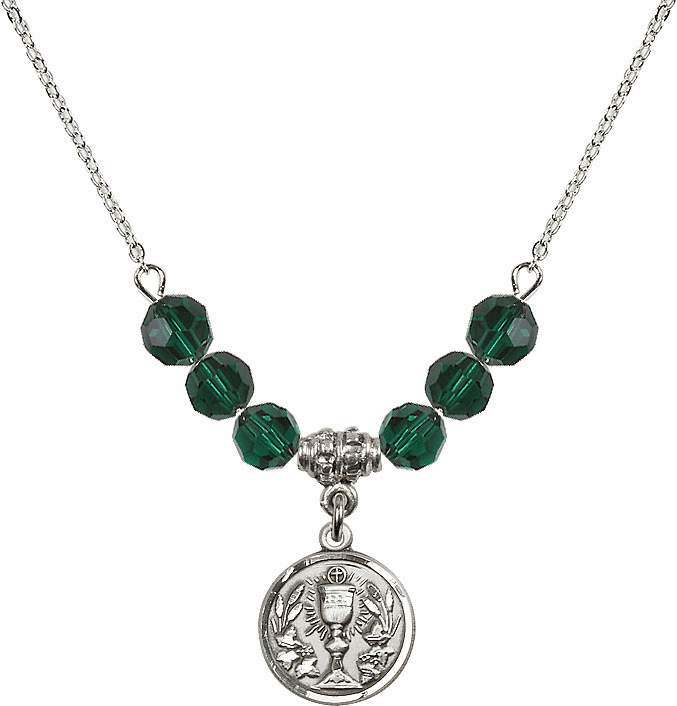 Sterling Silver Communion Chalice Medal Sterling May Emerald 6mm Swarovski Crystal Necklace by Bliss Mfg