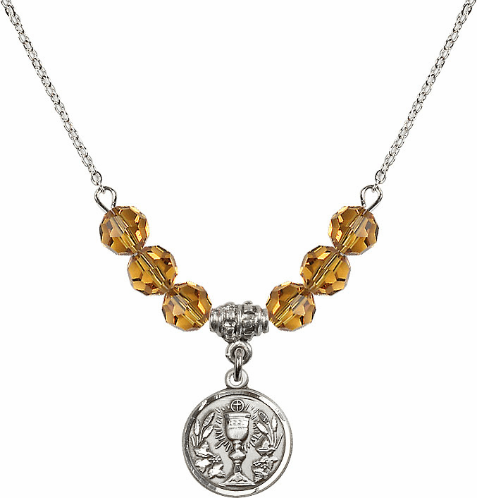 Sterling Silver Communion Chalice Medal Sterling November Topaz 6mm Swarovski Crystal Necklace by Bliss Mfg