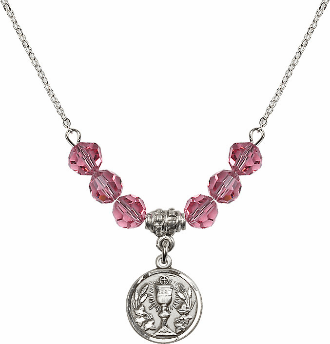 Sterling Silver Communion Chalice Medal Sterling October Rose 6mm Swarovski Crystal Necklace by Bliss Mfg