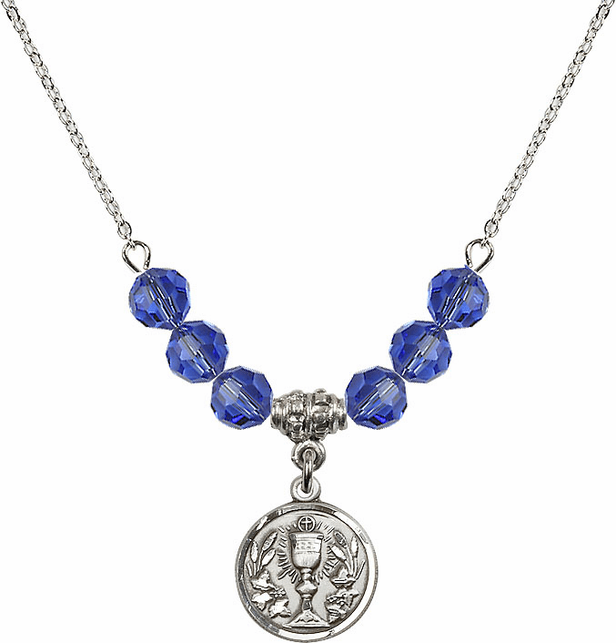 Sterling Silver Communion Chalice Medal Sterling September Sapphire 6mm Swarovski Crystal Necklace by Bliss Mfg