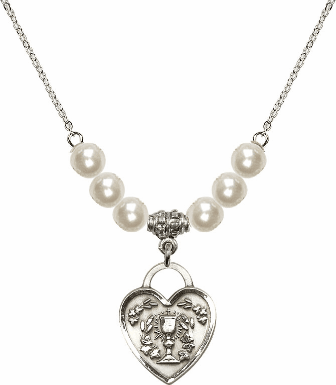 Sterling Silver Communion Heart Chalice Heart Sterling 6mm Faux Pearls Necklace by Bliss Mfg
