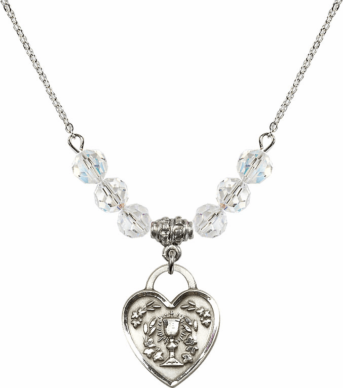 Sterling Silver Communion Heart Chalice Heart Sterling April 6mm Swarovski Crystal Necklace by Bliss Mfg
