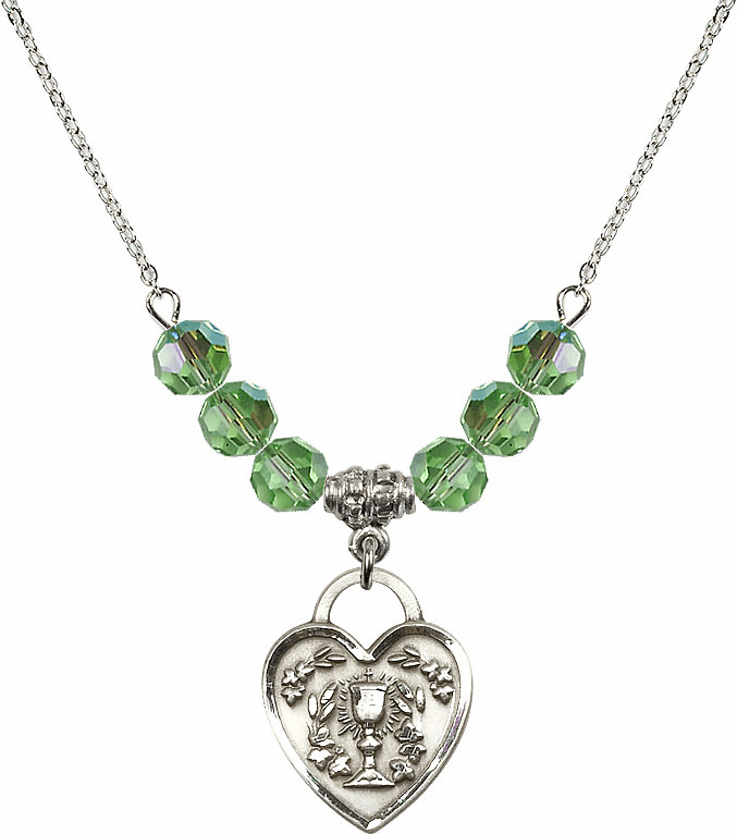 Sterling Silver Communion Heart Chalice Heart Sterling August Peridot 6mm Swarovski Crystal Necklace by Bliss Mfg