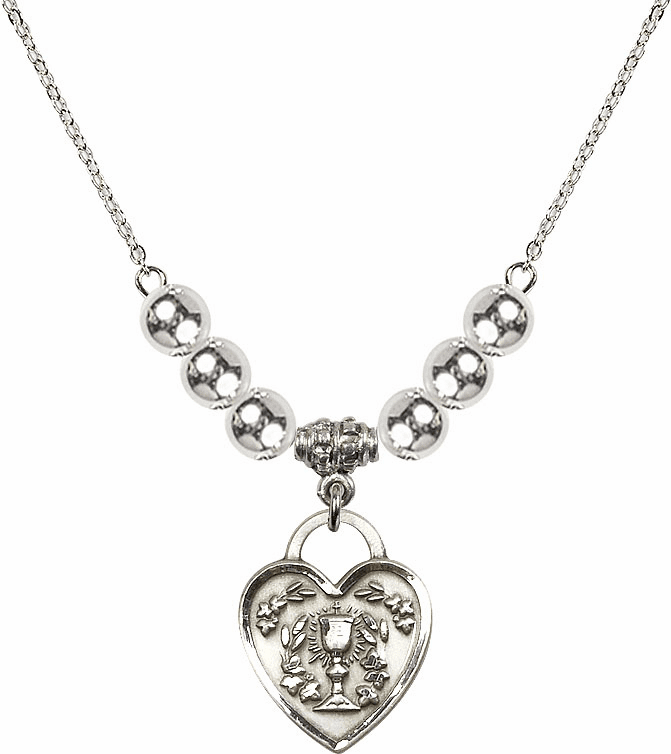 Sterling Silver Communion Heart Chalice Heart Sterling Charm w/6mm Silver Beaded Necklace by Bliss Mfg