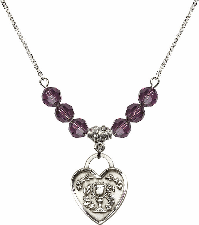 Sterling Silver Communion Heart Chalice Heart Sterling February Amethyst 6mm Swarovski Crystal Necklace by Bliss Mfg