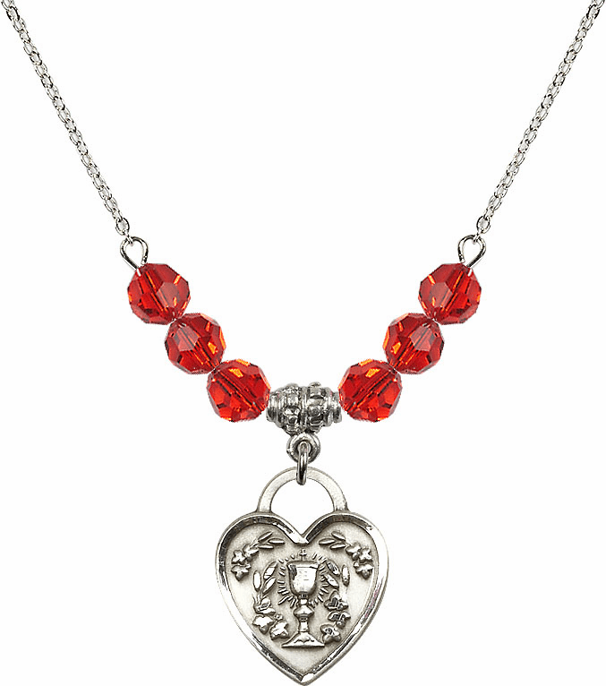 Sterling Silver Communion Heart Chalice Heart Sterling July Ruby 6mm Swarovski Crystal Necklace by Bliss Mfg