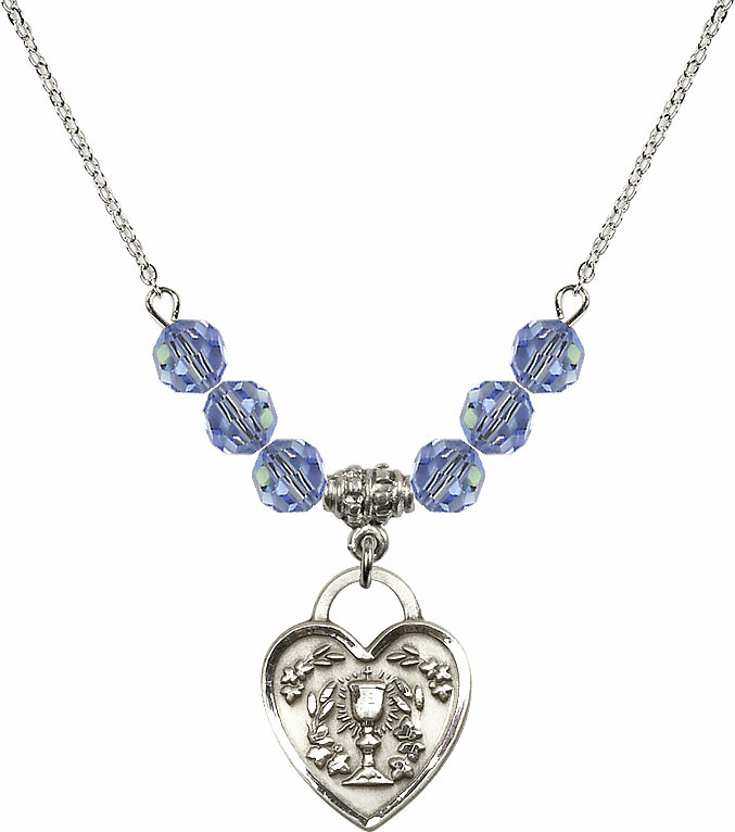 Sterling Silver Communion Heart Chalice Heart Sterling Lt Sapphire 6mm Swarovski Crystal Necklace by Bliss Mfg