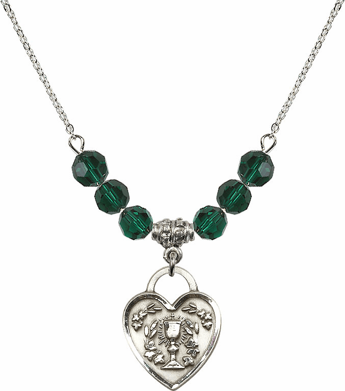 Sterling Silver Communion Heart Chalice Heart Sterling May Emerald 6mm Swarovski Crystal Necklace by Bliss Mfg