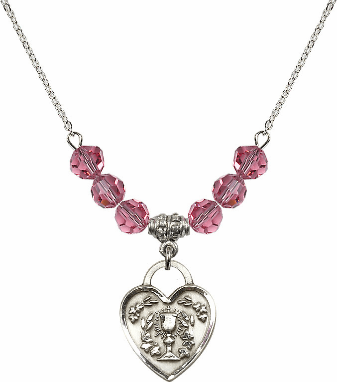 Sterling Silver Communion Heart Chalice Heart Sterling October Rose 6mm Swarovski Crystal Necklace by Bliss Mfg