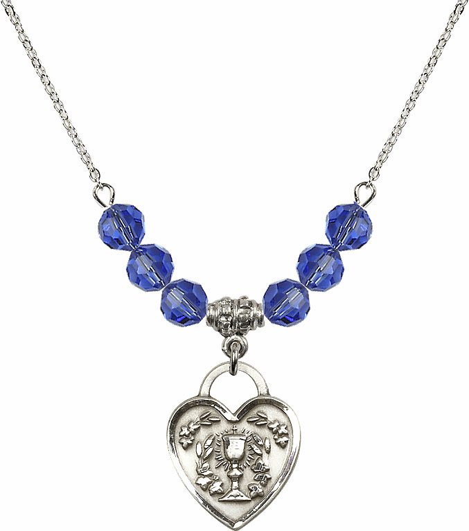 Sterling Silver Communion Heart Chalice Heart Sterling September Sapphire 6mm Swarovski Crystal Necklace by Bliss Mfg