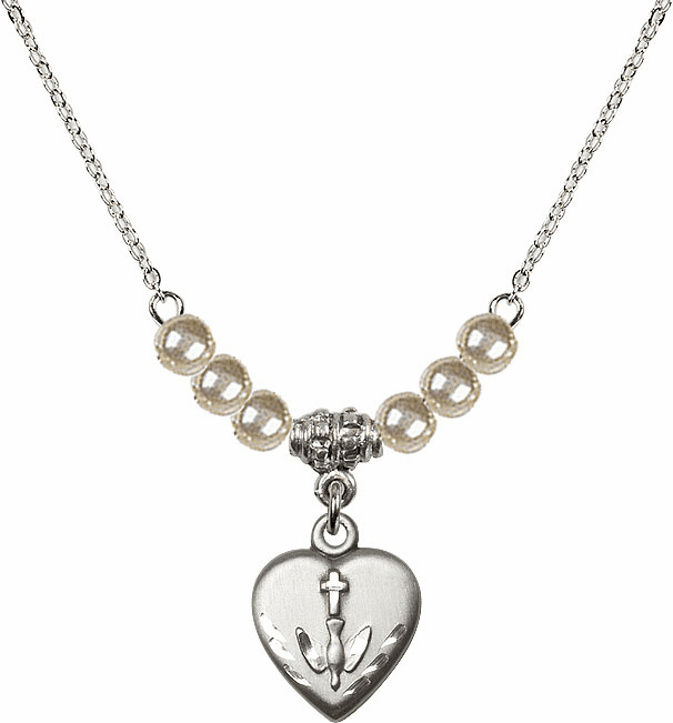 Sterling Silver Confirmation Heart Sterling 4mm Faux Pearlsl Necklace by Bliss Mfg